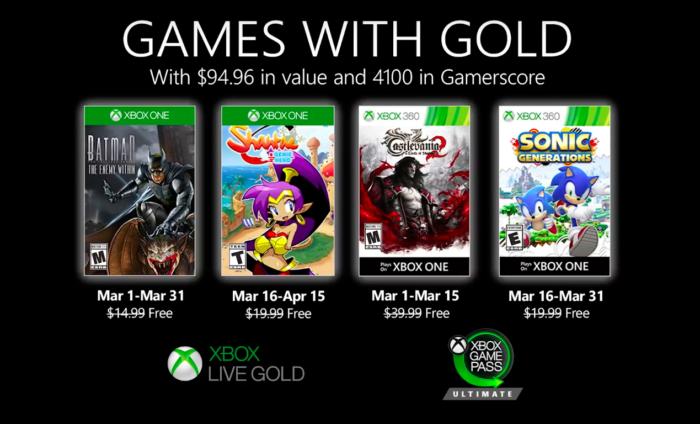 jogos do xbox live gold de março de 2020