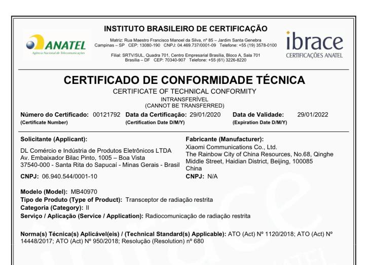 Certificado de homologação do Xiaomi AirDots Pro 2