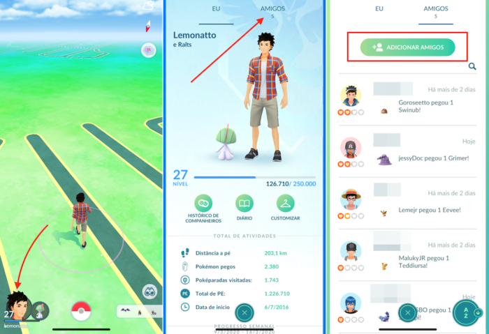 amigos no Pokémon Go
