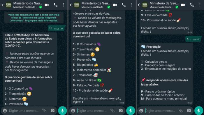 Bot do Ministério da Saúde no WhatsApp sobre coronavírus