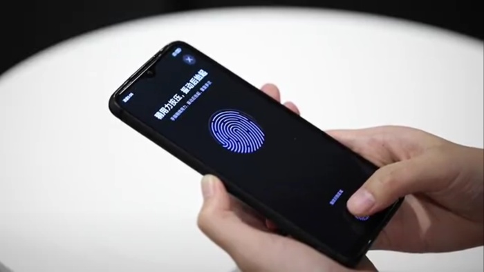Protótipo de celular Redmi com leitor de digitais na tela LCD