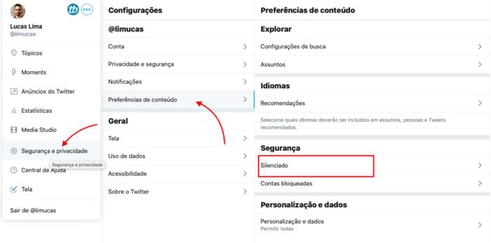 como bloquear palavras no twitter via web