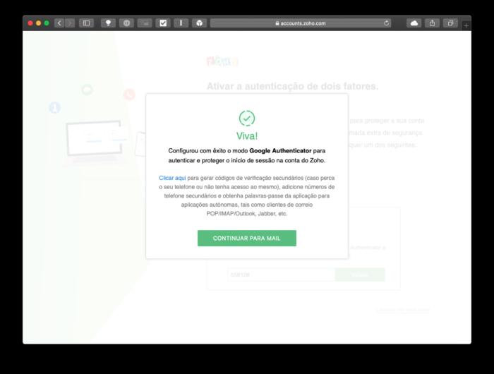 Como criar email no Zoho