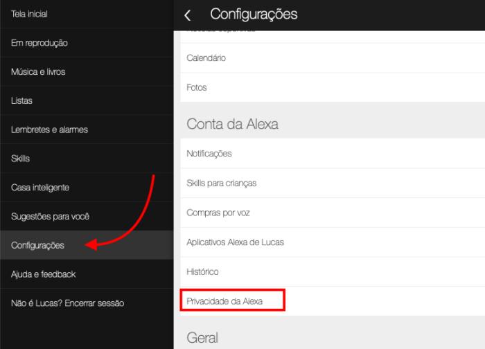 configurações de privacidade da Alexa