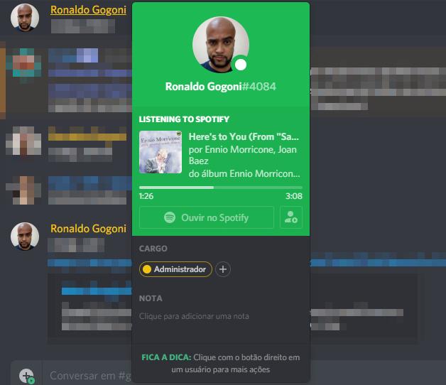 Status do Spotify no Discord
