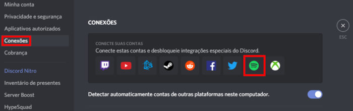 Conectando conta Spotify no Discord