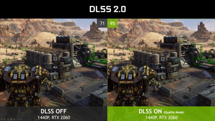 Demonstração de jogo com DLSS 2.0 desligado (esq.) e ligado (Imagem: Divulgação/Nvidia)
