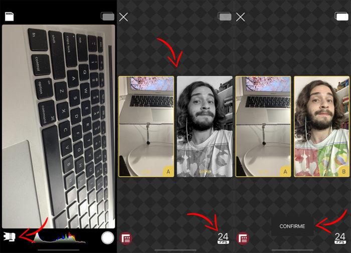 Como selecionar as câmeras no DoubleTake para iPhone