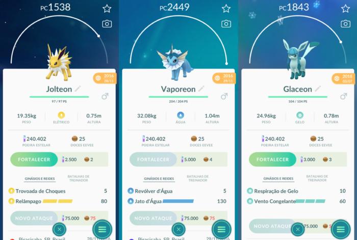 evoluções do eevee em Pokémon Go