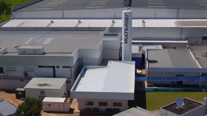 Fábrica da Multilaser em Extrema (MG) (Foto: Reprodução/YouTube)