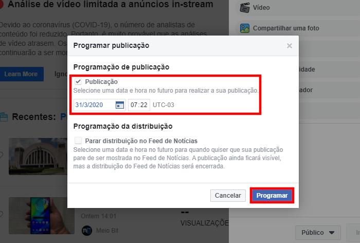 Facebook / como agendar posts no facebook