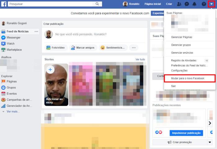 novo desing facebook