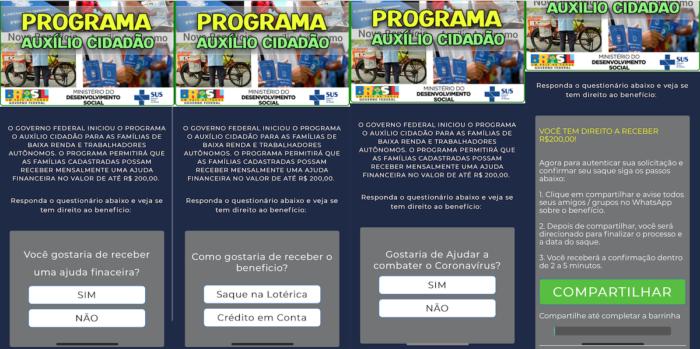 fraude whatsapp benefício 200 reais