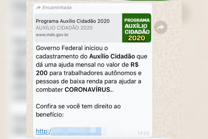 fraude do whatsapp promete verificação de benefício de 200 reais