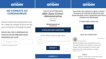 Golpe em site falso e WhatsApp promete álcool gel da Ambev