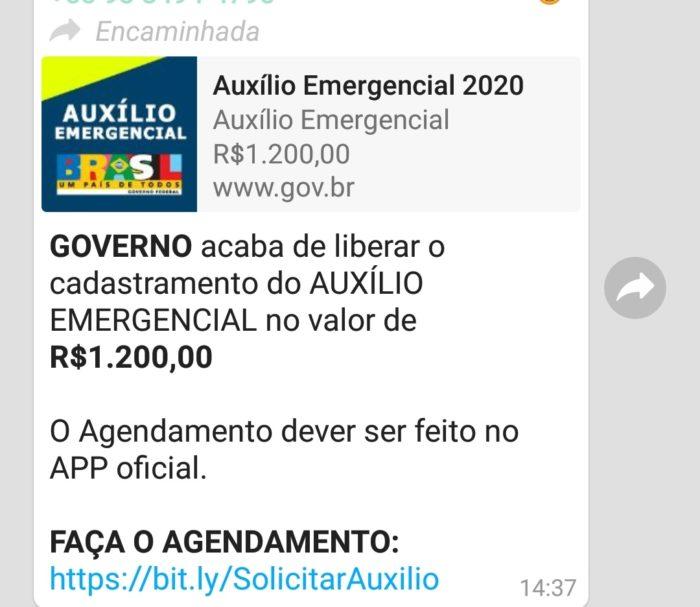 Golpe de auxílio do governo no WhatsApp