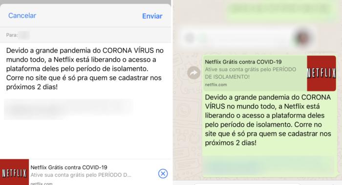 golpe whatsapp netflix de graca