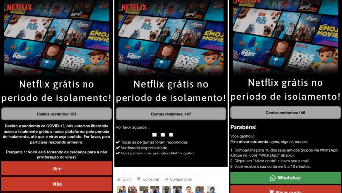 Golpe de Netflix grátis