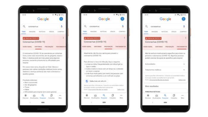 Alerta do Google sobre coronavírus
