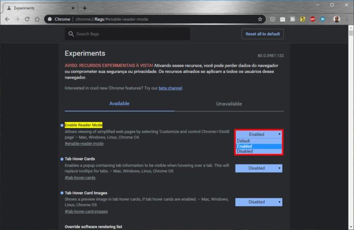 Google Chrome / modo leitura chrome
