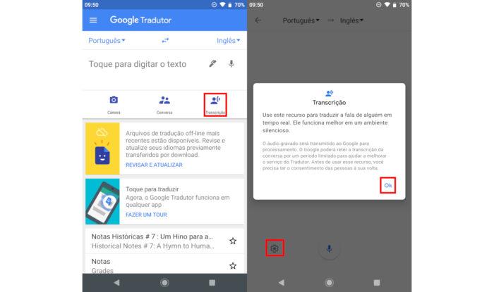 Google / transcrever áudio no Google Tradutor