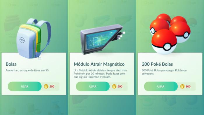 itens da loja de Pokémon Go