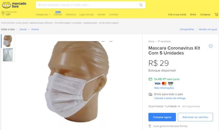 Anúncio de máscara no Mercado Livre
