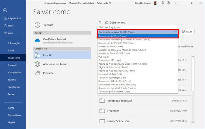 Microsoft / modo de compatibilidade word