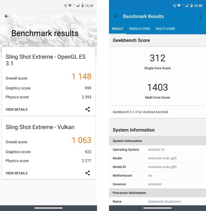 Resultados no 3DMark 2.0.46252 e Geekbench 5.1.0
