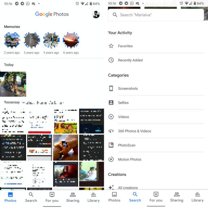 novo google fotos android