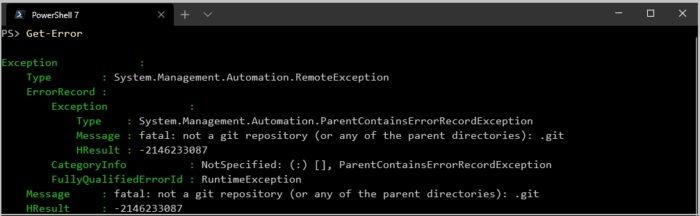 PowerShell 7.0 - investigação de erros