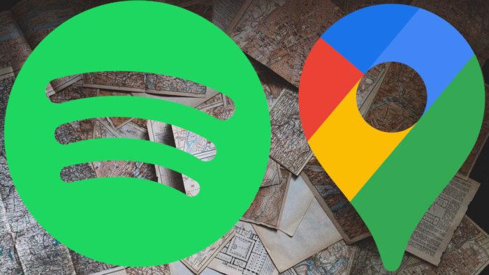 Mapas, logos Spotify e Google Maps