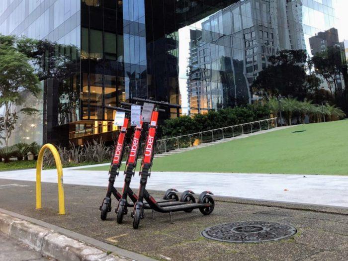 Patinetes elétricos da Uber em São Paulo