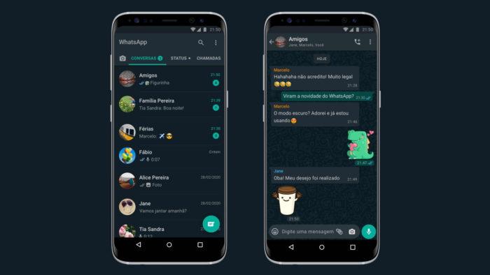 WhatsApp com modo escuro