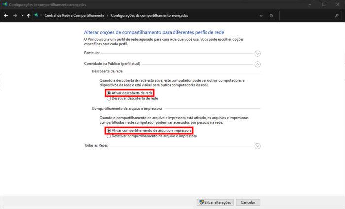 Microsoft / configurações de rede do Windows 10 / como compartilhar uma pasta na rede