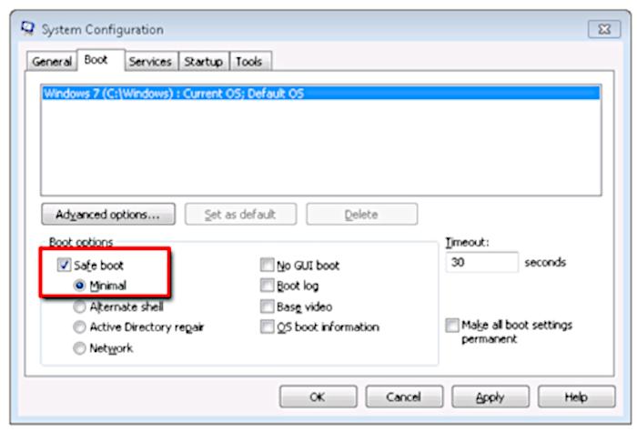 Microsoft / msconfig / modo de segurança windows 7