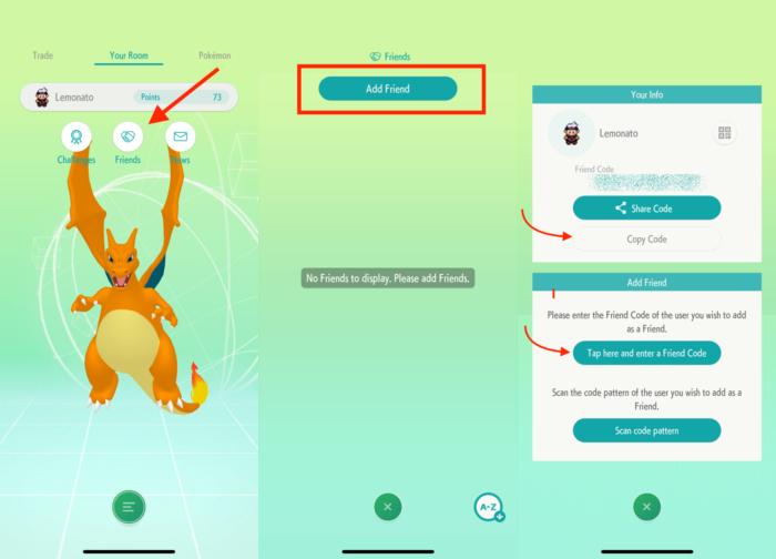 adicionar amigos no Pokémon Home