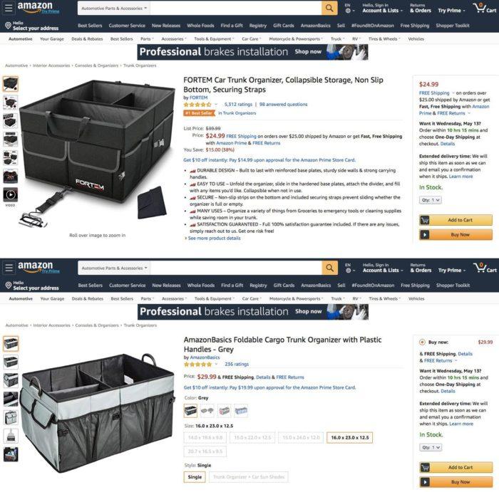 Amazon teria lançado organizador de porta-malas a partir de dados de parceiro (Reprodução/Wall Street Journal)