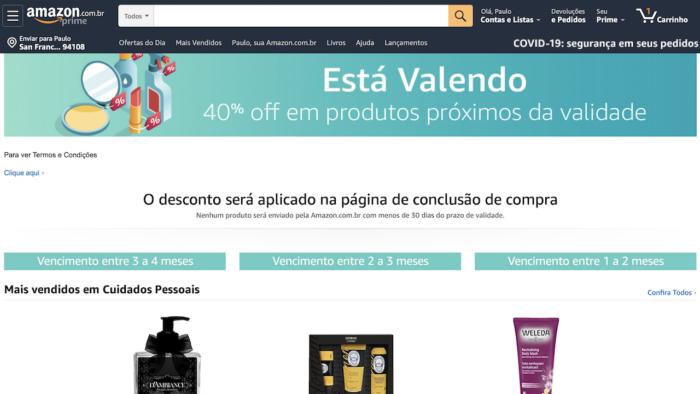 Amazon oferece desconto para produtos perto da validade