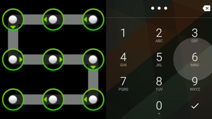 Android / padrão de desbloqueio vs. PIN