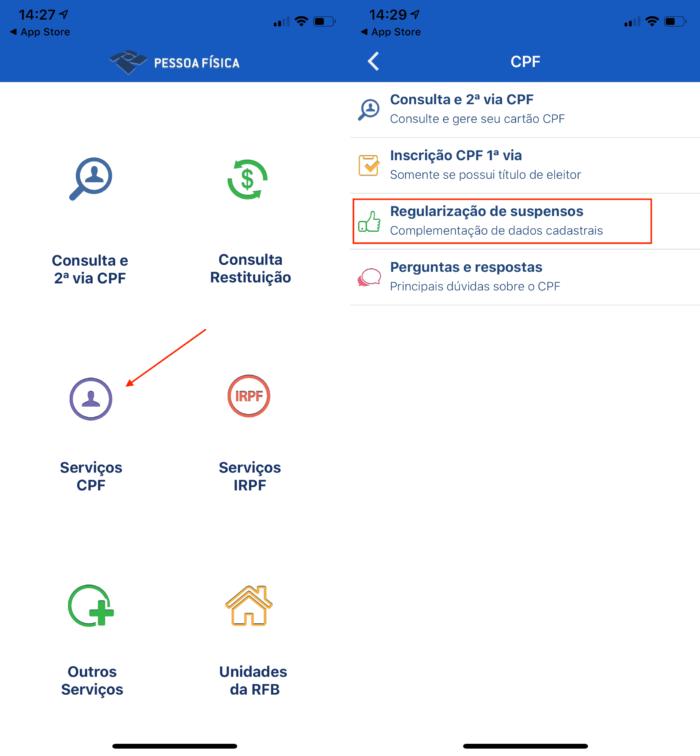 regularizar cpf pelo aplicativo / captura de tela