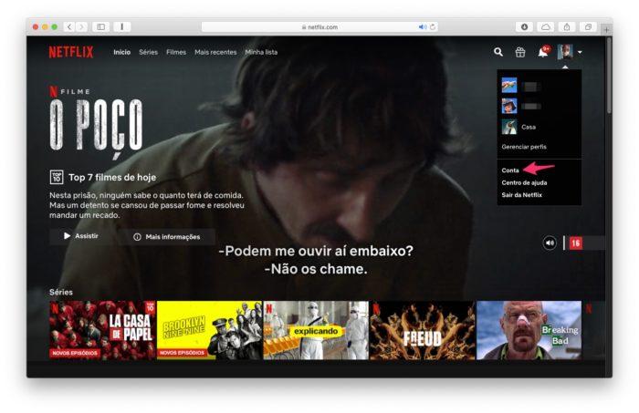 Acesse as configurações de sua conta da Netflix