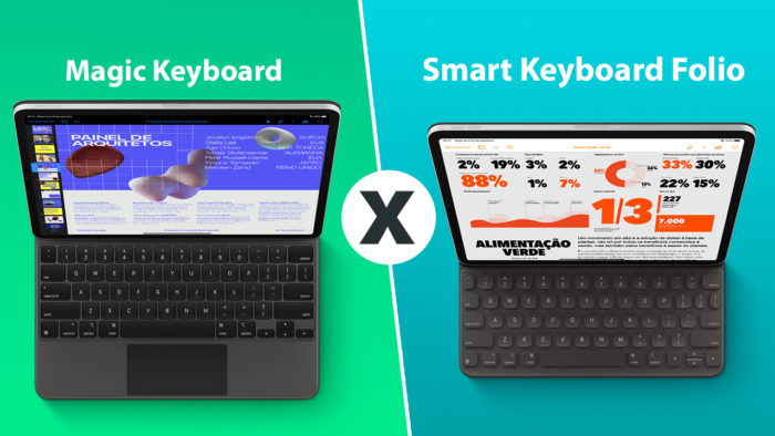 comparativo enter magic keyboard e o smart keyboard folio para iPad Pro