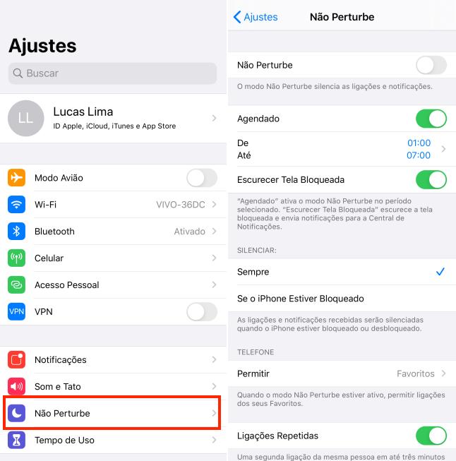 Não perturbe no iPhone (iOS)