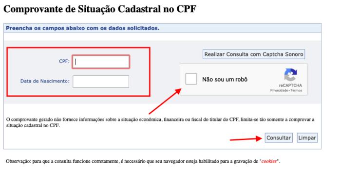 site da receita federal permite consultar cpf online