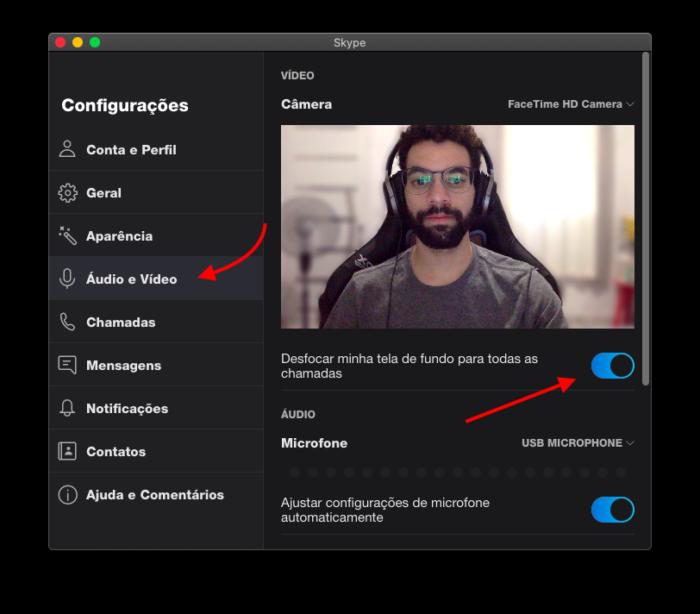 ativar recurso de desfoque do fundo na chamada de vídeo do skype