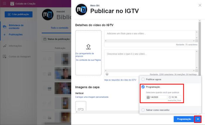 Facebook / Estúdio de Criação / agendar igtv pelo facebook