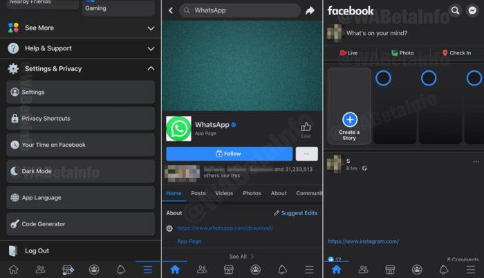Modo noturno do Facebook no iOS