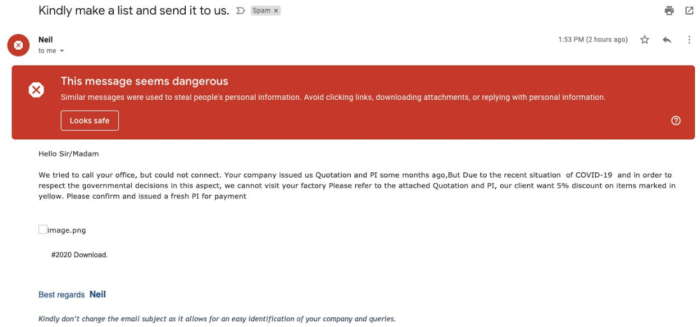 Gmail / Tentativa de phishing