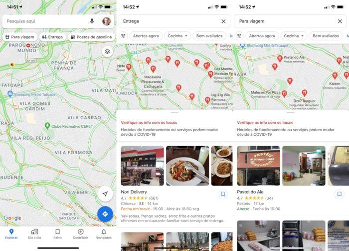 Google Maps - restaurantes com entregas
